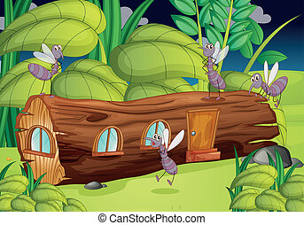 wood house and mosquitos - illustration of a wood house and...