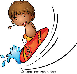 Boy and surfing - illustration of boy and surfing on a white...