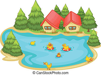 duckling in a pond - illustration of ducklings in a pond in...