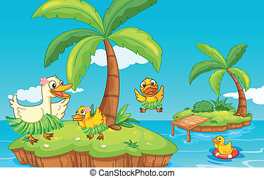 duck and ducklings on island - illustration of a duck and...