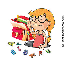 alphabets and girl - illustration of alphabets and girl on a...