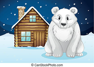 polar bear infront of house - illustration of a polar bear...