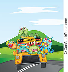 monsters in schoolbus - illustration of monsters in...