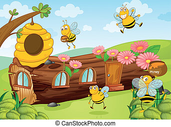 honey bees and wooden house - illustration of honey bees and...