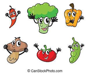 vegetables - illustration of various vegetables on white...