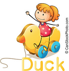 Girl and duck toy - illustration of a girl and duck toy on a...