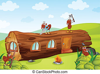 ants and wooden house - illustration of ants and beautiful...