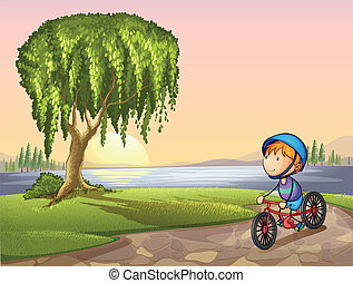 boy in park - Illustration of a boy in a park