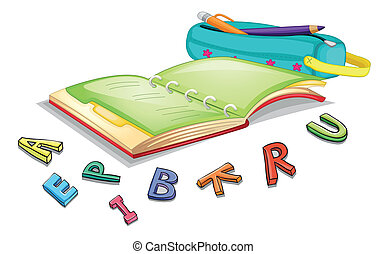 alphabets and book - illustration of alphabets and book on a...