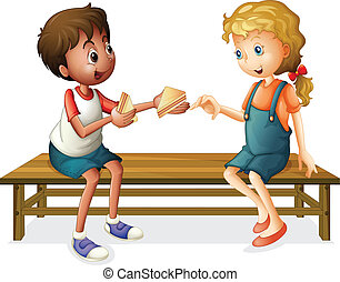 kids sitting on a bench - illustration of kids sitting on a...