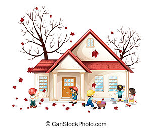 kids in front of house - illustration of a kids working in...