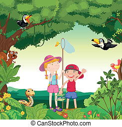 animals, birds and kids - illustration of animals, birds and...