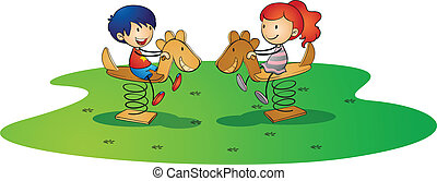 kidsplaying on spring horse - illustration of kids on a...
