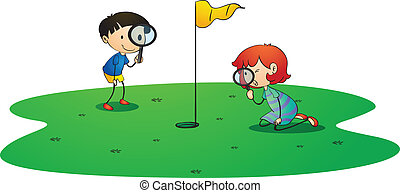 kids on golf ground - illustration of kids on golf ground on...