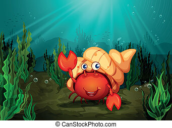 a crab - illustration of a crab under deep water