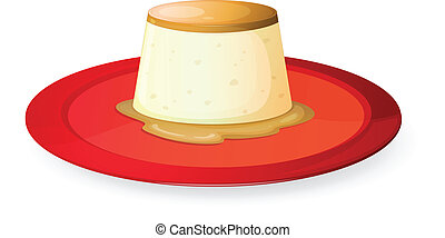 pudding in red dish - illustration of pudding in red dish on...