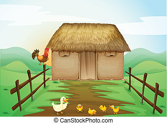 house and ducks - illustration of house and ducks in a...