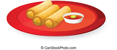 meat rolls - illustration of meat rolls in red dish on white