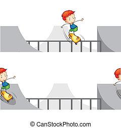 Skateboarding boy - illustration of a skateboarding boy on a...