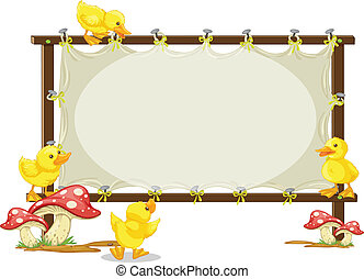 board and duck - illustration of a board and duck on a white...