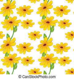 yellow flowers - illustration of beautiful yellow flowers on...