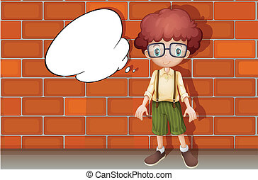 A boy and a speech bubble - illustration of a boy standing...