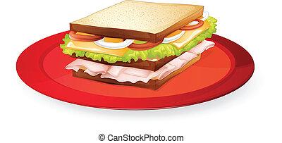 bread sandwich - illustration of a bread sandwich in red...