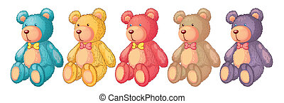 teddy bears - illustration of teddy bears on a white...