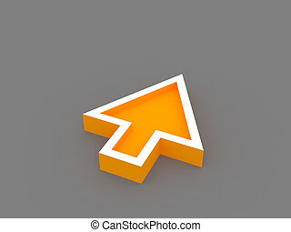3d orange arrow - 3D orange arrow rendering with gray...