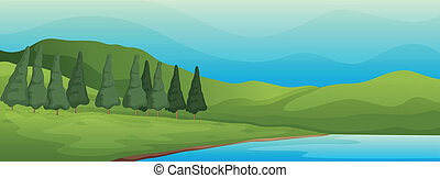 green landscape and lake - illustration of a green landscape...