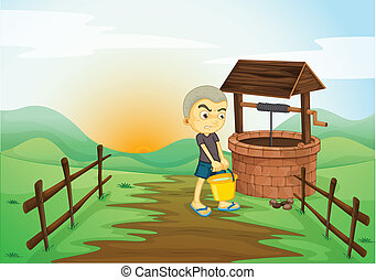 boy and water well