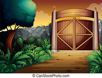 gate - illustration of gate in a beautiful nature