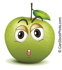quite apple smiley - illustration of quite apple smiley on a...