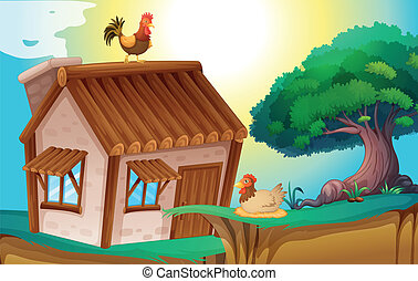 hens and house - illustration of hens and a house in a...