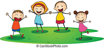 kids playing - illustration of a kids playing happily...