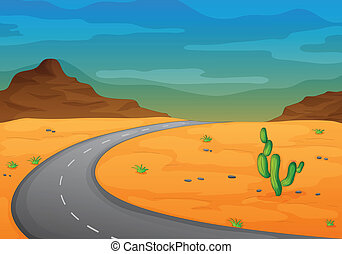 road in a desert - illustration of a road in a desert