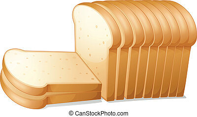 Bread slices - illustration of a bread slices on a white...