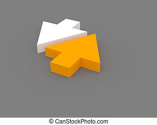 Up and down arrows - 3d rendering of two white and orange...