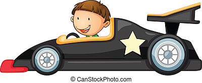 a boy driving a car - illustration of a boy driving a car on...