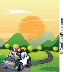 car and road - illustration of a car and road in a beautiful...