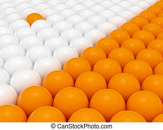 Two groups of 3d balls - 3d rendering of two orange and...