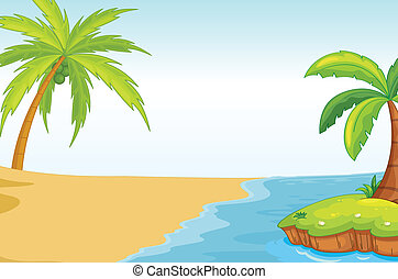 palmand coconut tree on sea shore - illustration of a palm...
