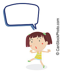 Girl and call out - illustration of a girl and call out on a...