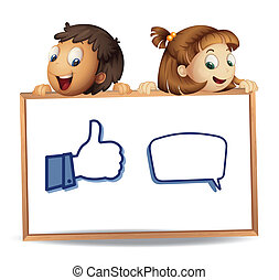 kids with thumb and call out - illustration of kids with...