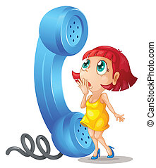 Girl and phone receiver - illustration of a girl and phone...