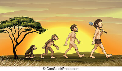 evolution of man - illustration of picture showing evolution...