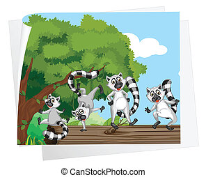lemurs on a log - Illustration of lemurs on a log