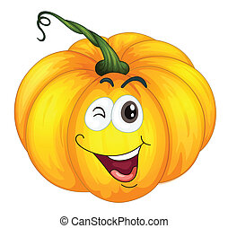 pumkin head - Illustration of a pumpkin winking