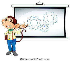 monkey showing white board - illustration of monkey showing...