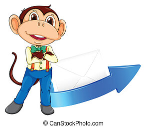 monkey, arrow and envelop - illustration of a monkey, arrow...